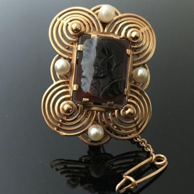 Broche  Came Or Perles Poincon Md Tete Aigle 12 Grammes 19e Decor A L  Antique Personnage Romai
