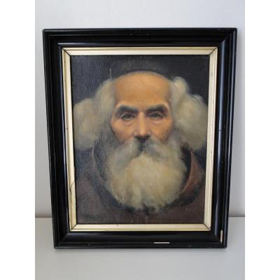 Portrait Of Veillard Monk By Paul Emile Sautai Oil On Cardboard