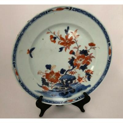 Imari Japon Plate 19th A Decor Floral Red And Blue Porcelain
