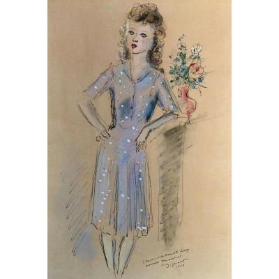 Andre Dignimont  Aquarelle Dessin Rehausse Femme 1943 Costume Signee
