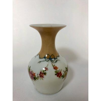 Opaline Vase 19 Eme Decor Floral Louis XVI Style Marking 12 Flange