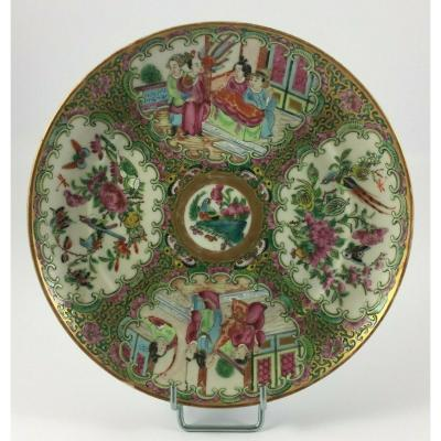 Canton Plate A Decor Of Characters And Birds XIX Eme Gilding