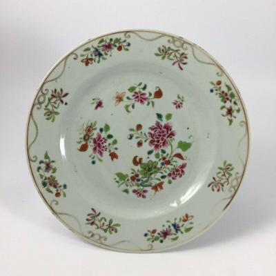Compagnie Des Indes Plate White Porcelain Polychrome Floral Decor