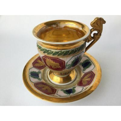 Tasse Sous Tasse Porcelaine De Paris Jacob Petit Rehausse Or Louis Philippe