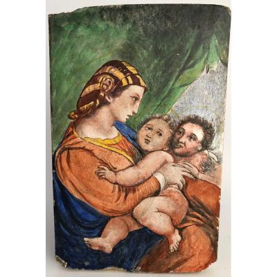 Peinture Sur Carreau Representant La Vierge Madone D Apres Raphael 19eme