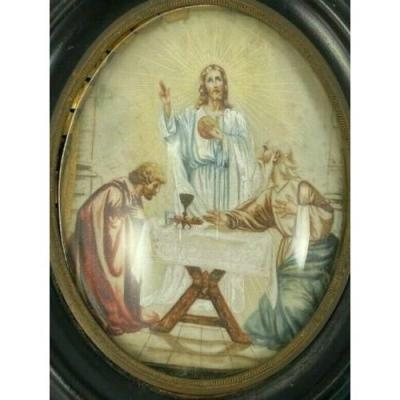 Watercolor On Paper Christ And The Apostles Napoleon III Wood Frame
