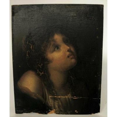 Portrait Young Child In Beatitude 18th On Wood Panel