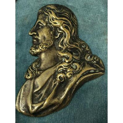 Medaille Profil Christ En Bronze Sur Cadre Bois 19 Eme