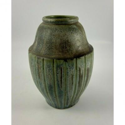 Denbac Rene Denert Ceramic Vase Green Patina N 419 Art Deco Sign