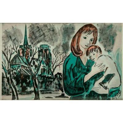 Aquarelle Sur Papier Par Henry D Anty Femme A L Enfant Devant Cathedrale