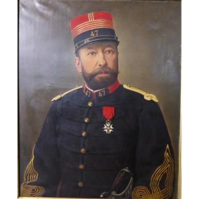 Oil On Canvas Portrait Colonel French Army Infantry 1870