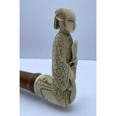 Manche D Ombrelle Kakemono XIX Eme Sujet Japonais Sculpte
