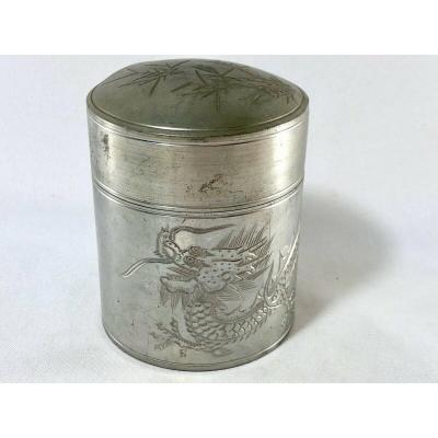Tin Box Kuthing Pewter Swatow Decor Dragon And Bamboo China