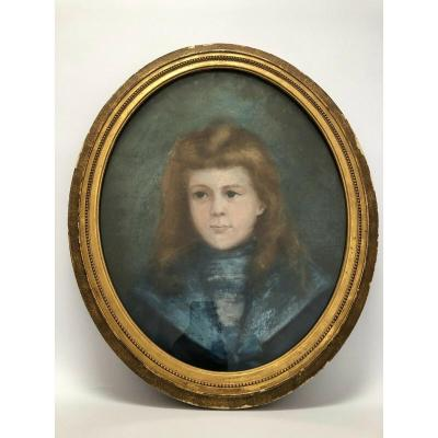 Pastel Portrait Young Girl Late 19th Blue Costume On Canvas With Glass