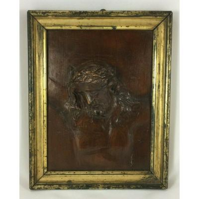 Frame Panel Head Of Christ Wood Carved Relief Frame Dore XX Eme 300