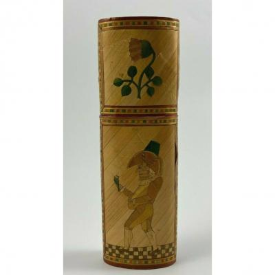 Straw Marquetry Case Debut XIX Eme Decor Grotesque Characters