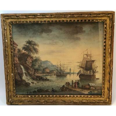 Aquarelle 18eme Scene De Port Cascade Navire Cadre Bois Dore