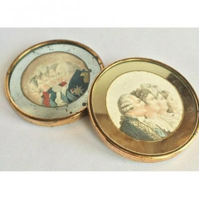 Pair Miniature Late 18th Century Engraving Of The Royal Family Louis XVI And Charles X