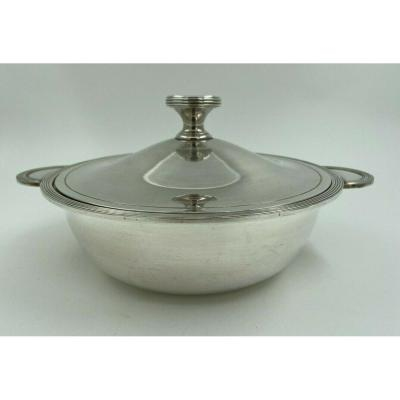 Tureen In Silver Metal Christofle With Art Deco Poincon Socket
