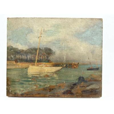 Oil On Wood Panel Marine Theme XIXth Almost Ile De Conleau D98