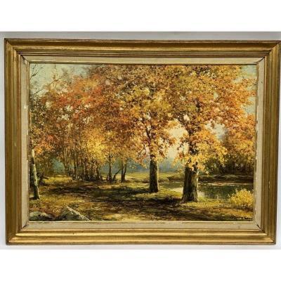 Huile Sur Toile Par Robert Wood Sous Bois October Gold