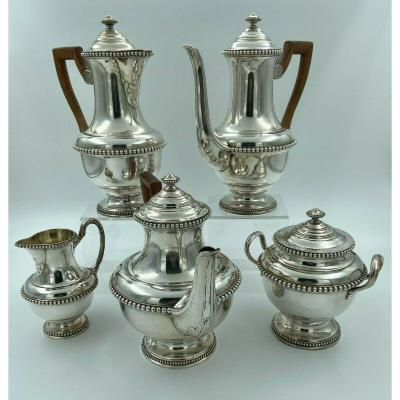Service Cafe 5 Pieces Lutetia France Metal Argente Perle Style Louis XVI