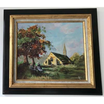 Huile Sur Bois Paysage Breton Eglise Personnage 1950 Monogramme Rc