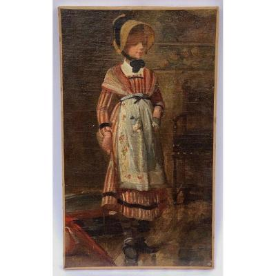 Oil On Canvas Portrait Of Young Girl On Foot Costume