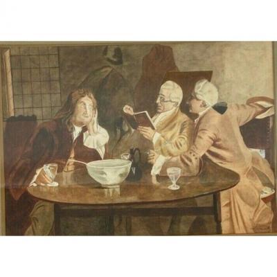 Watercolor On Paper Leray Scene D Interieur Taverne Men From XVIII Eme