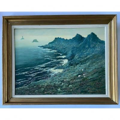 Oil On Canvas By Jean Paul Savigny Cote Rocheuse Brittany Frame Dore