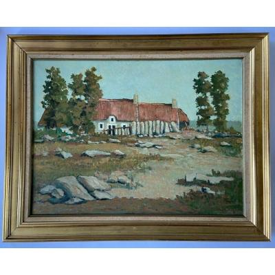 Oil On Canvas By Jean Paul Savigny 1965 House In Brittany Frame Dore