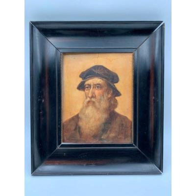 Portrait Man With Beard Oil On Renaissance Panel Wood Frame By Trigo