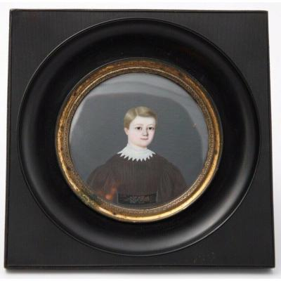 Miniature Par P Martin Jeune Enfant Charles Martin 1836 Cadre Noirci