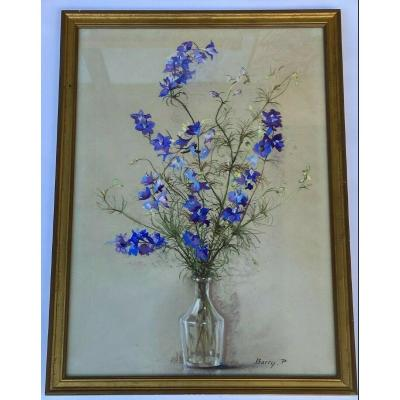 Bouquet Of Flowers By Pierre Barry Watercolor On Paper