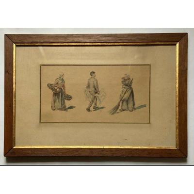 Watercolor Old Profession By Zenon Trigo 3 Characters Wood Frame Nantes
