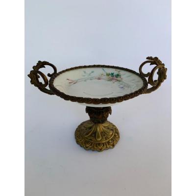 Coupe En Bronze Monte Porcelaine De Paris 19eme Napoleon III
