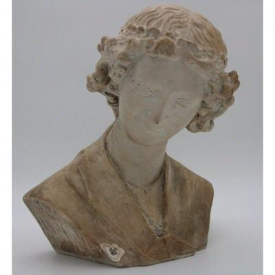 Bust In Plaster The Angel With A Smile End XIXe Smile Of Reims Cathedral