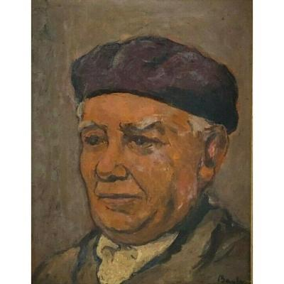 Oil On Panel By Bayle Portrait Man Basque Country 1930