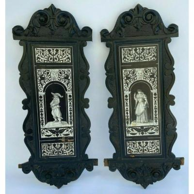 Pair Of Panel XIXe Neo Gothic In The Taste Of The Renaissance