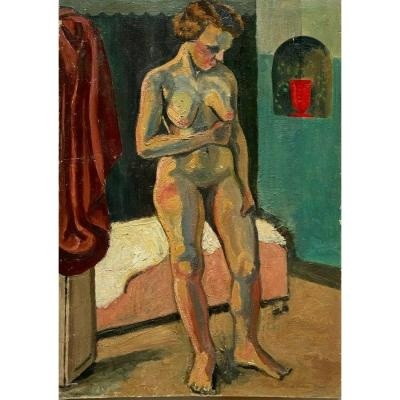 Naked Woman Woman Interior Oil On Panel 1930 B From Château-thierry