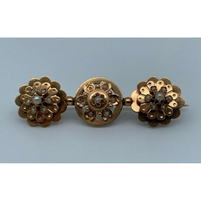 Old 18k Gold Brooch 10 Small Cultured Pearls