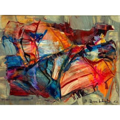 Huile gouache par Erich Buchholz Composition abstraite sur papier 1962