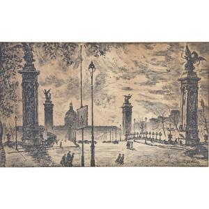 Dessin par Yonosuke Hoshizaki Vue du pont Alexandre III Paris 1951