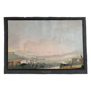 Gouache napolitaine Début XIXe Villa Galla Naples Vésuve