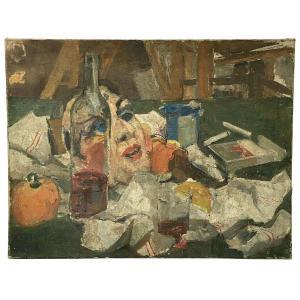 Nature morte au masque et bouteille par C. Henry Peinture au couteau 1930
