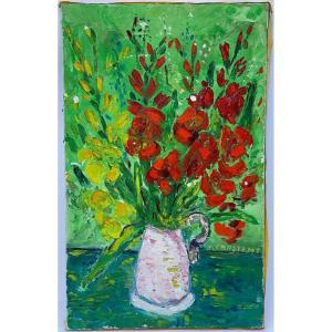 Huile sur toile Joseph Constant Constantinovsky Nature morte Bouquet