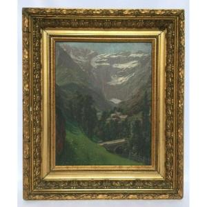 Oil On Panel By Bs The Village And The Circus Of Gavarnie 1910 Gilding