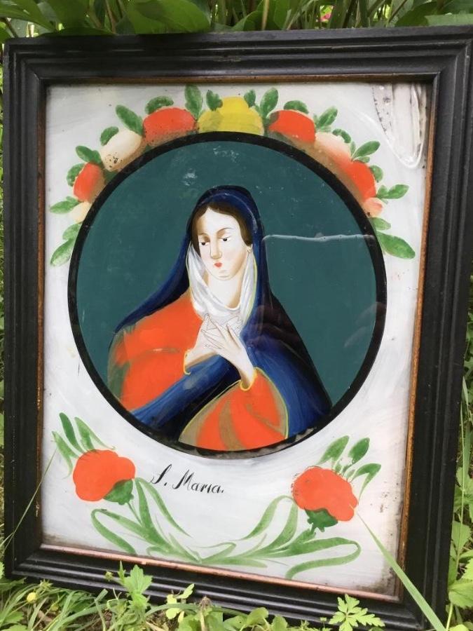 Grand Fixé Sous Verre, Sainte Marie, 18ème