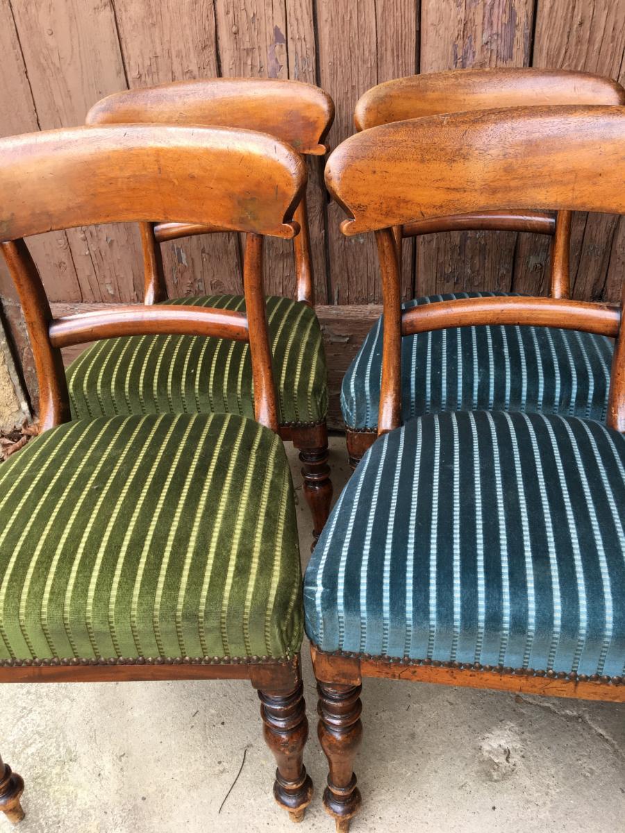 Paire de Chaises  vertes Anglaises En Acajou, XIXème-photo-2