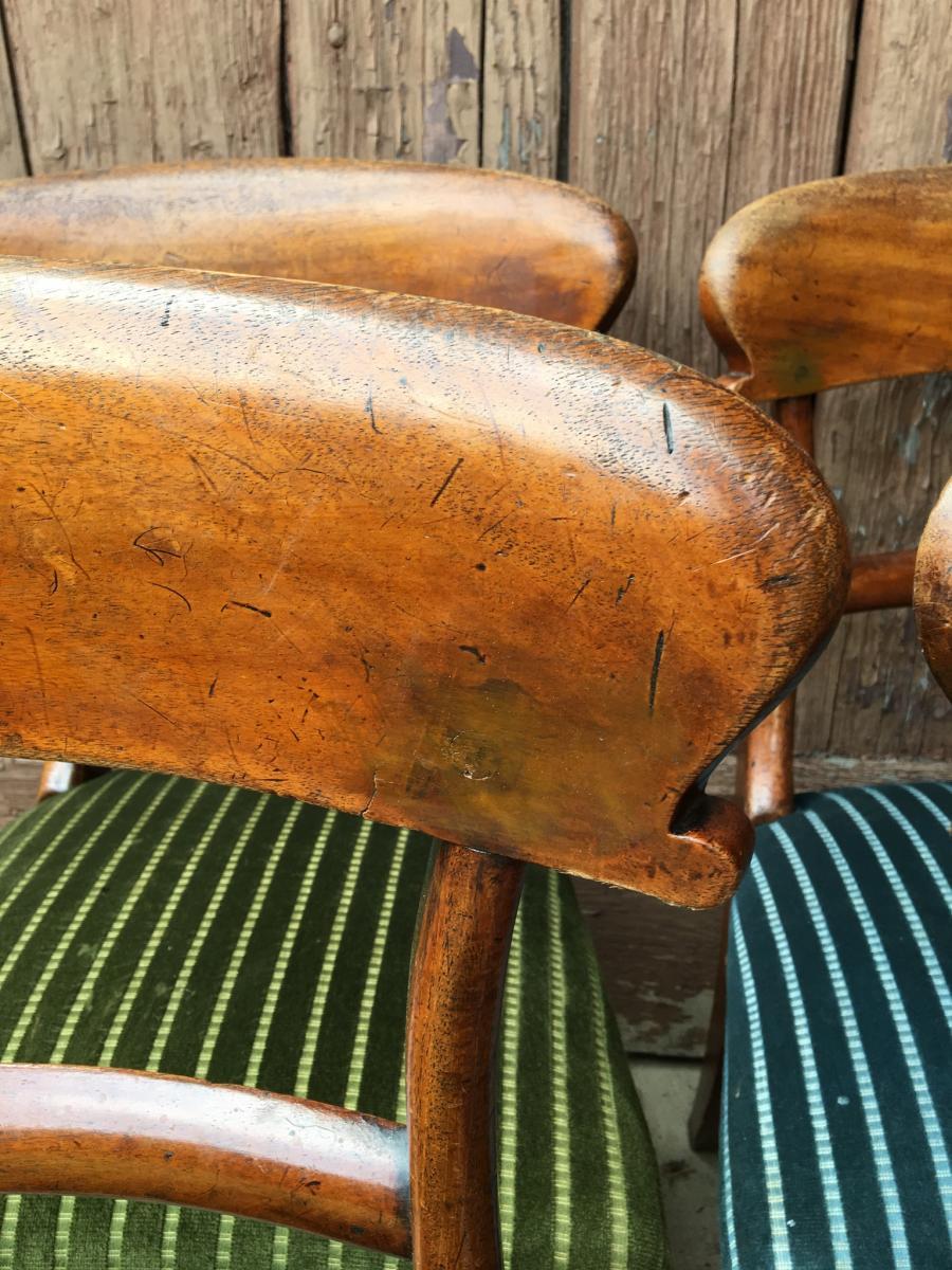 Paire de Chaises  vertes Anglaises En Acajou, XIXème-photo-4